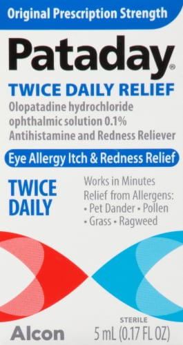 Pataday Twice Daily Eye Allergy Itch & Redness Relief Eye Drops Perspective: front