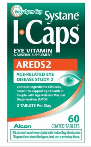 Systane I-Caps AREDS 2 Coated Tablets Perspective: front