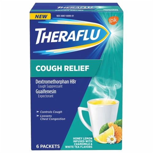Theraflu Cough Relief Honey Lemon Infused with Chamomile Powder Packets Perspective: front
