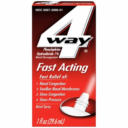 4 Way Fast Acting Phenylephrine Hydrochloride Nasal Decongestant Spray Perspective: front