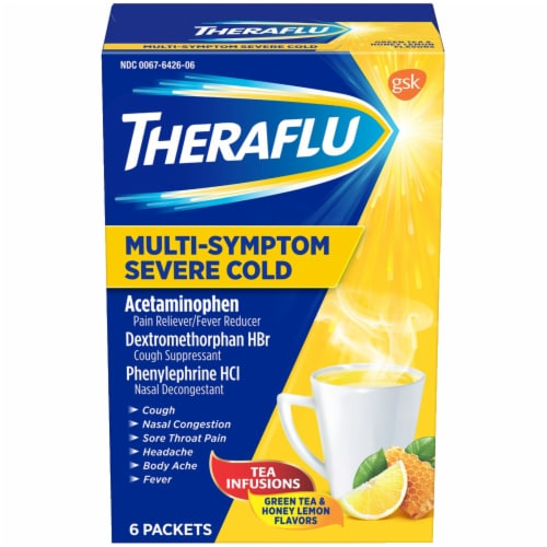 Theraflu Green Tea & Honey Lemon Flavor Multi-Symptom Severe Cold Packets Perspective: front