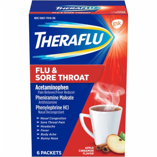 Theraflu Flu & Sore Throat Apple Cinnamon Powder Perspective: front
