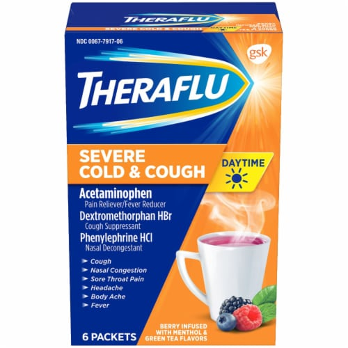 Theraflu Daytime Berry Flavored Severe Cold & Cough Packets Perspective: front