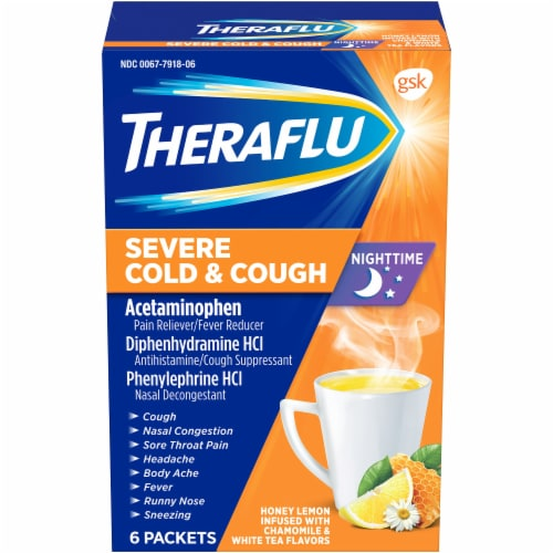 Theraflu Nighttime Honey Lemon Flavored Severe Cold & Cough Packets Perspective: front