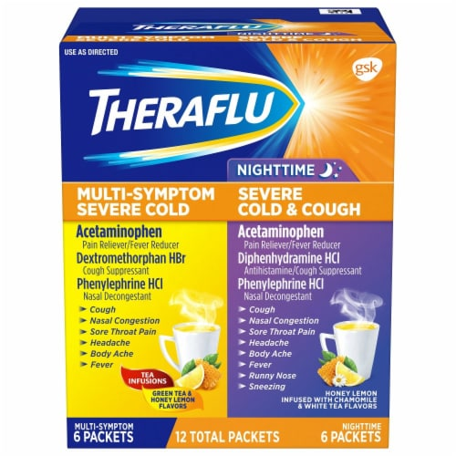 Theraflu Multi-Symptom and Nighttime Severe Cold & Cough Combo Pack Perspective: front