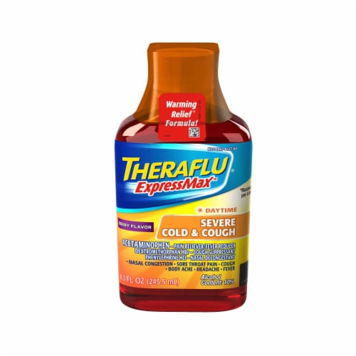 Theraflu ExpressMax Berry Flavor Daytime Severe Cold & Cough Syrup Perspective: front