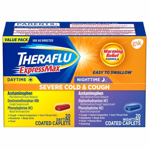 Theraflu ExpressMax Severe Cold & Cough Daytime & Nightime Combo Coated Caplets Perspective: front