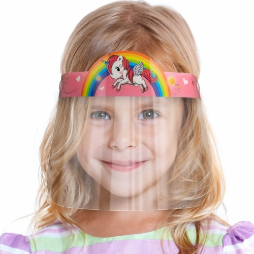 10 Pack Face Shield for Kids - Unicorn Pink Kids Face Shield | Easy to Use | Comfortable Perspective: front