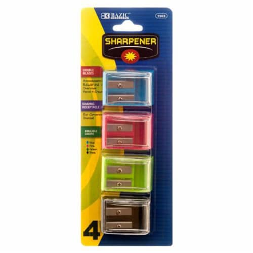 Pencil Sharpener 4pc Sq Double Blade by Bazic Perspective: front