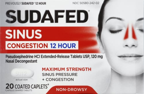 Sudafed 12-Hour Non-Drowsy Sinus Pressure + Congestion 120mg Pseudoephedrine HCI Coated Caplets Perspective: front