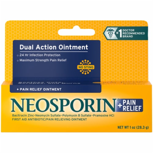 Neosporin Max Strength Dual Action Pain Relief Ointment Perspective: front
