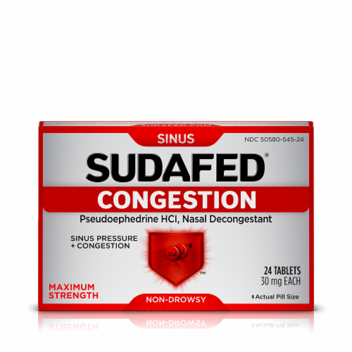 Sudafed Non-Drowsy Sinus + Congestion Maximum Strength Tablets Perspective: front