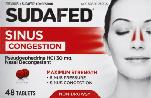 Sudafed Non-Drowsy Sinus + Congestion Maximum Strength Tablets 30mg Perspective: front