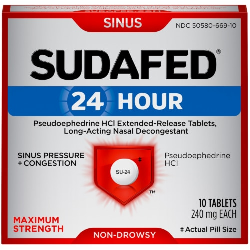 Sudafed 24-Hour Non-Drowsy Sinus Pressure + Congestion Maximum Strength Tablets Perspective: front