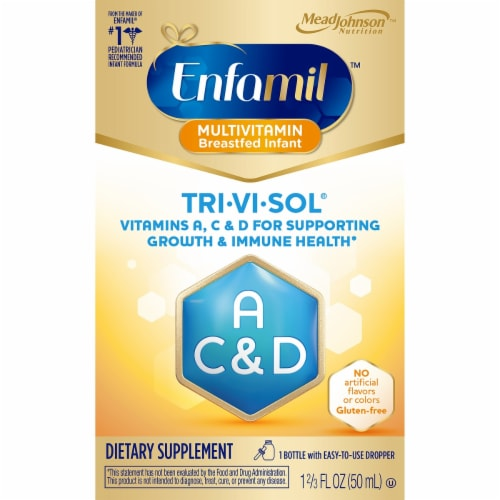 Enfamil Tri-Vi-Sol Liquid Multivitamin Supplement Drops Perspective: front