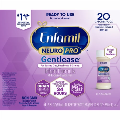 Enfamil Gentlease Ready to Use Milk-Based Infant Formula with Iron 6 Count Perspective: front