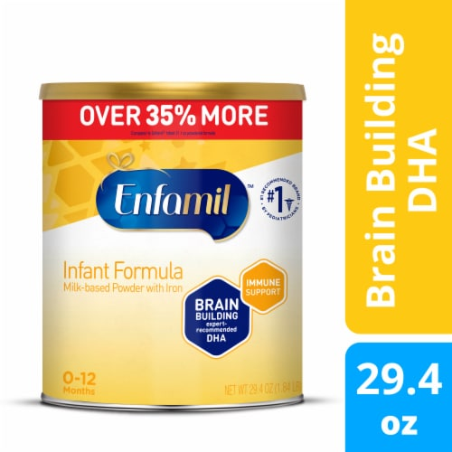 Enfamil Milk-based Baby Formula with Iron Powder Can Perspective: front