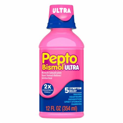 Pepto-Bismol Ultra Cherry Flavor 5 Symptom Relief Liquid Perspective: front