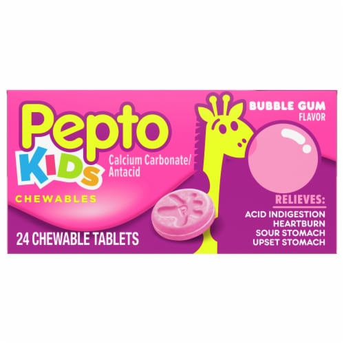 Pepto Kids Bubble Gum Flavor Antacid Chewable Tablets Perspective: front