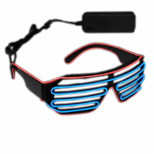 Blinkee UELSHNG-BR Ultra Electro Luminescent Sunglasses, Blue & Red Perspective: front