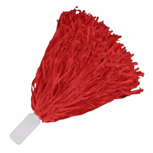 Blinkee BLUSHP-RD Non Light Up Short Handle Cheer Pom Poms, Red Perspective: front