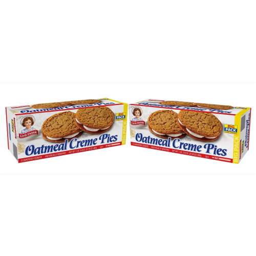 Oatmeal Creme Pies, Big Packs, 2 Boxes, 24 Individually Wrapped Sandwich Cookies Perspective: front
