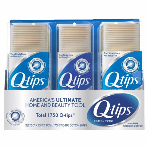 Q-tips Cotton Swabs (625 Count, 2 Pack; 500 Count, 1 Pack) Perspective: front