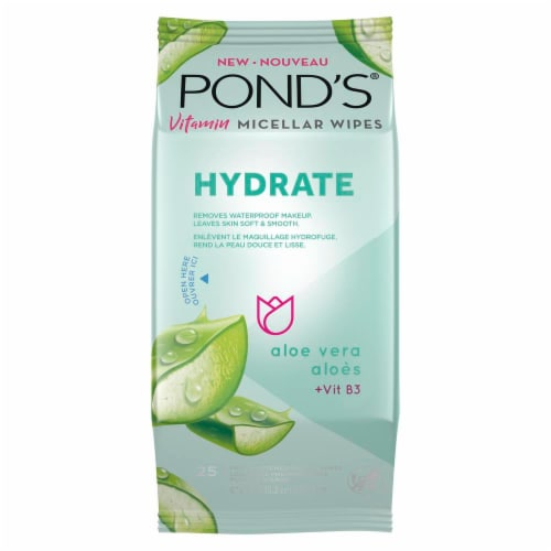Pond's Hydrate Aloe Vera Vitamin Micellar Wipes Perspective: front