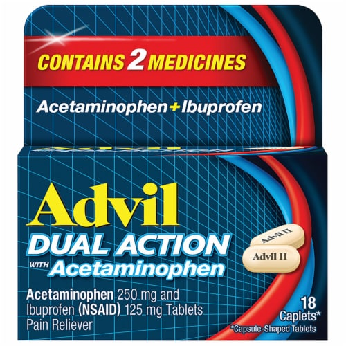 Advil Dual Action Acetaminophen & Ibuprofen Pain Relieving Caplets Perspective: front