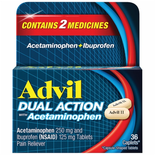 Advil Dual Action Acetaminophen & Ibuprofen Pain Relieving Caplets 36 Count Perspective: front