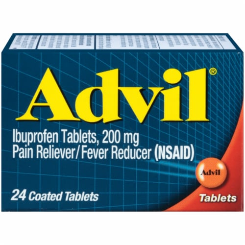 Advil Pain Reliever & Fever Reducer Coated Tablets 200mg Perspective: front