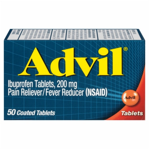 Advil Ibuprofen Pain Reliever/Fever Reducer Coated 200 mgTablets Perspective: front