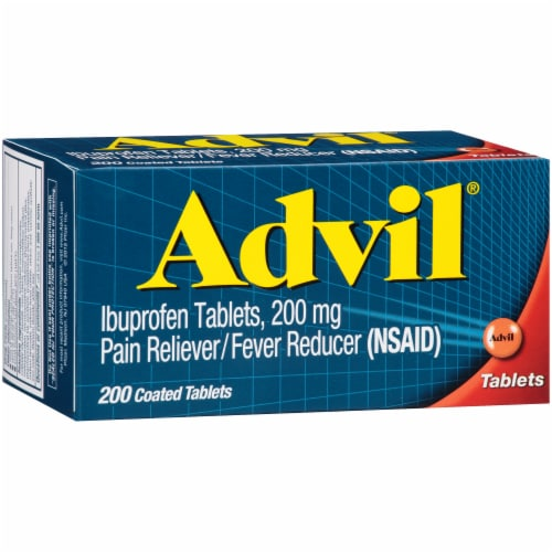 Advil Pain Reliever/Fever Reducer Ibuprofen Coated Tablets 200mg Perspective: front