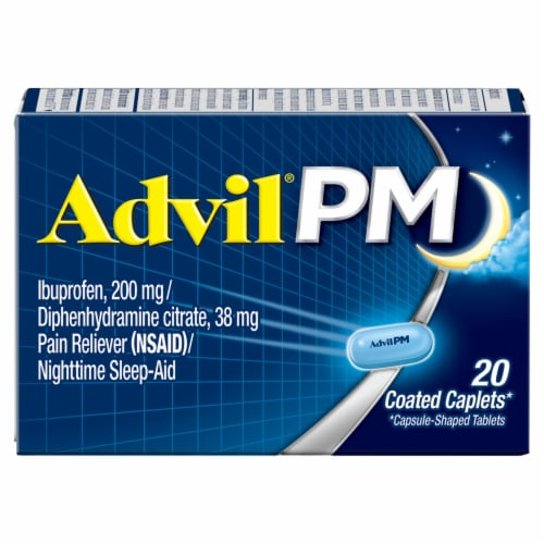 Advil PM Ibuprofen Coated Caplets 200mg Perspective: front