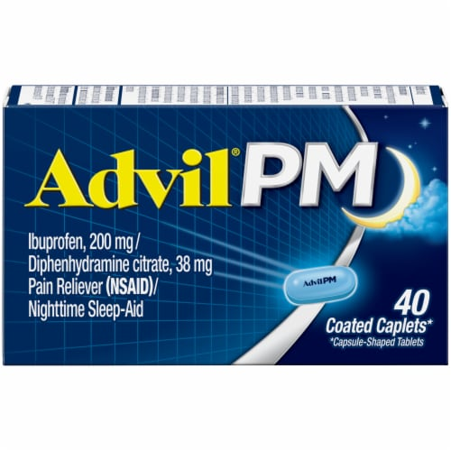 Advil PM Pain Reliever/Nighttime Sleep-Aid Ibuprofen Coated Caplets 200mg Perspective: front