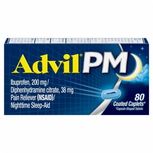 Advil® PM Pain Reliever/Nighttime Sleep Aid Perspective: front