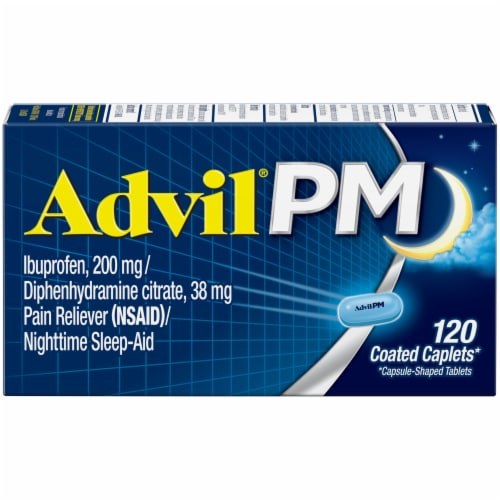 Advil PM Pain Reliever & Nighttime Sleep-Aid Coated Caplets Perspective: front