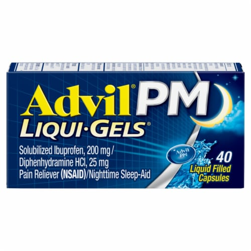 Advil PM Liqui-Gels Pain Reliever/Nighttime Sleep Aid Liquid Filled Capsules 200mg Perspective: front