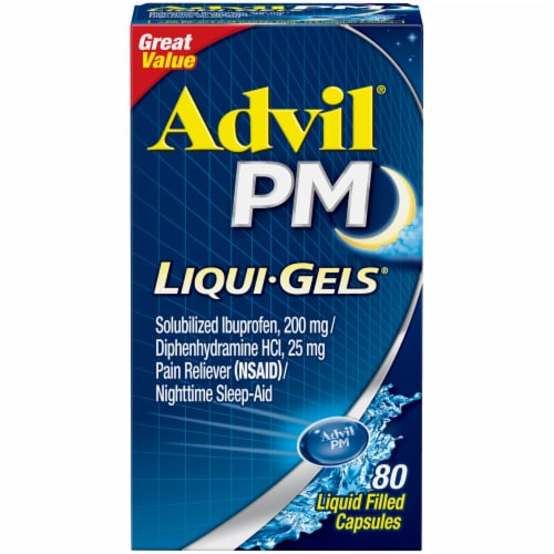 Advil® PM Liqui-Gels® Pain Reliever/Nighttime Sleep Aid Liquid Filled Capsules 80 Count Perspective: front