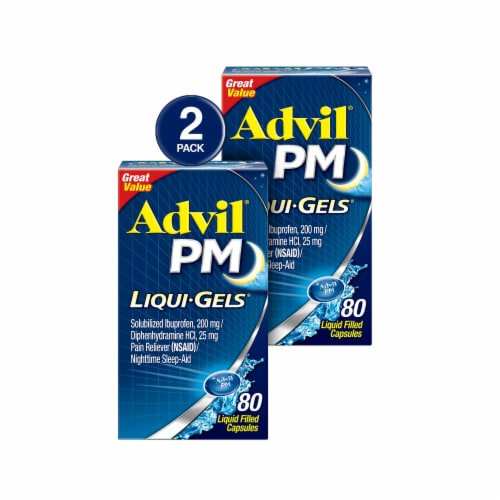 Advil PM Liqui-Gels Pain Reliever & Nighttime Sleep-Aid Liquid Filled Capsules Perspective: front