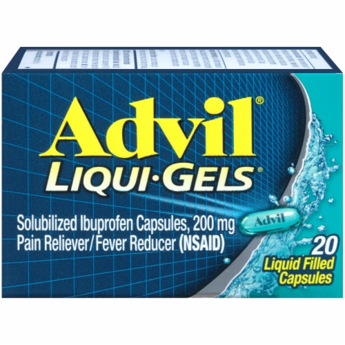Advil Pain Reliever/Fever Reducer Ibuprofen Liquid Filled Capsules 200mg Perspective: front