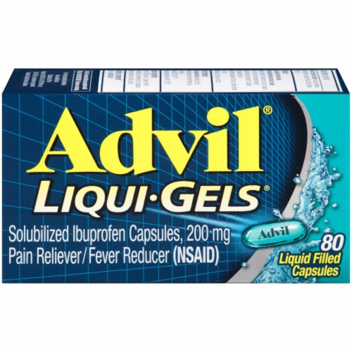 Advil Liqui-Gels Pain Reliever/Fever Reducer Liquid Filled Capsules 200mg Perspective: front