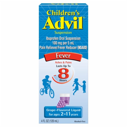 Advil Children's Ibuprofen Grape-Flavored Oral Suspension 100mg Perspective: front