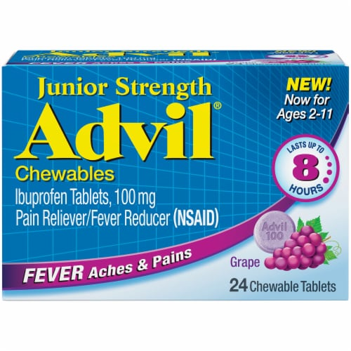 Advil Junior Strength Grape Flavored Fever Chewable Tablets 100mg 24 Count Perspective: front