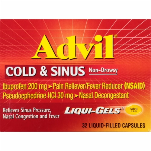 Advil Cold & Sinus Liquid Filled Capsules Perspective: front