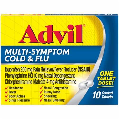 Advil Multi-Symptom Cold & Flu Coated Tablets 200 mg Perspective: front