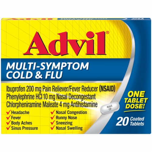 Advil Multi-Symptom Cold & Flu Coated Tablets 200mg Perspective: front