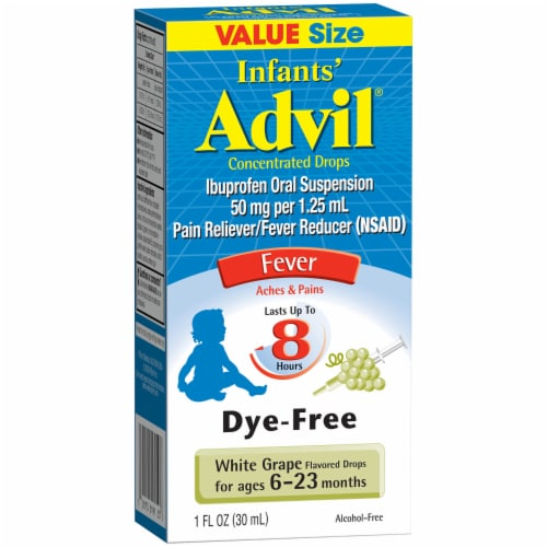 Infants' Advil White Grape Flavored Ibuprofen Oral Suspension Concentrated Drops Perspective: front
