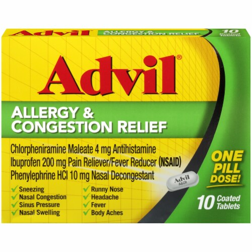 Advil Allergy & Congestion Relief Coated Tablets Perspective: front