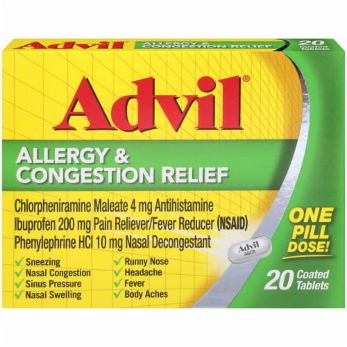Advil Allergy & Congestion Relief Coated Tablets 200mg Perspective: front
